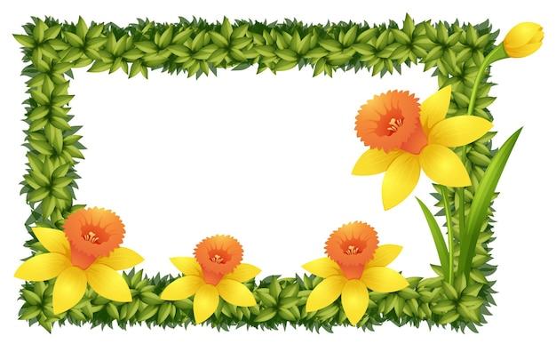 Modèle de cadre avec des fleurs de jonquille