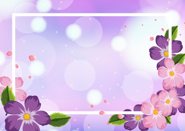 Modèle de cadre avec des fleurs violettes