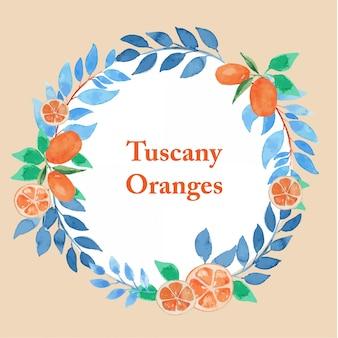 Modèle de cadre floral aquarelle feuilles orange et bleu