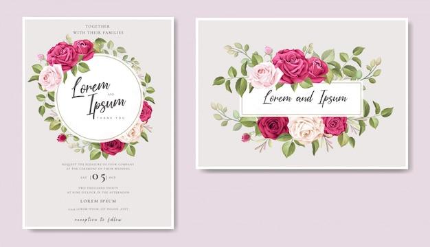 Modèle de cadre floral belle carte de mariage