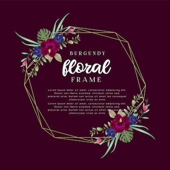 Modèle de cadre floral bourgogne