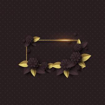 Modèle de cadre floral coupé en papier