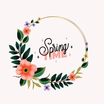 Modèle de cadre floral printemps aquarelle