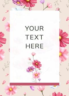 Modèle de cadre fond fleur rose
