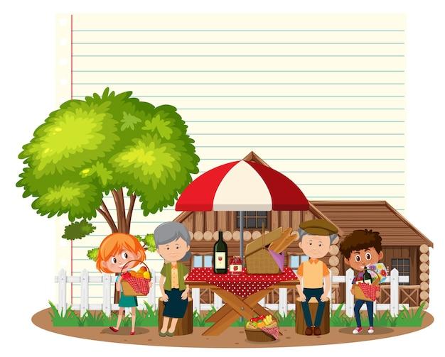 Modèle de cadre de frontière avec famille de pique-nique
