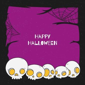 Modèle de cadre halloween dessiné à la main avec des crânes