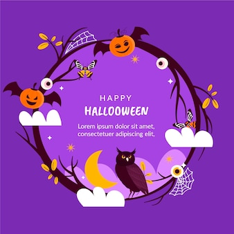 Modèle de cadre halloween dessiné à la main