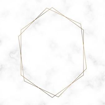 Modèle de cadre hexagonal doré