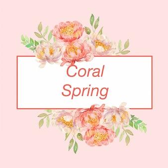Modèle de cadre illustration printemps pivoines corail aquarelle