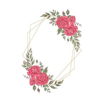 Modèle de cadre de mariage avec des décorations florales aquarelles géométriques