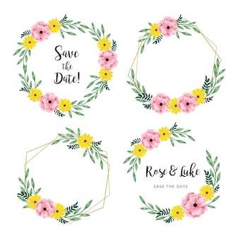 Modèle de cadre de mariage avec des feuilles et des fleurs