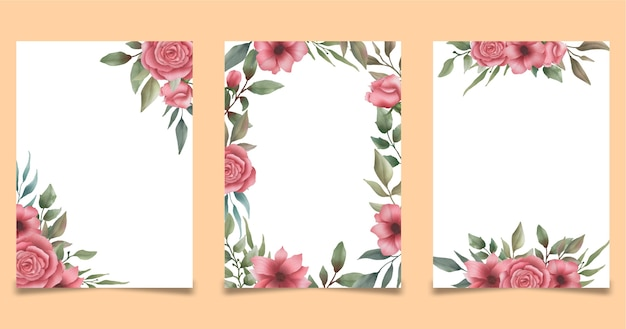 Modèle de cadre de mariage floral aquarelle