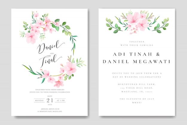 Modèle de cadre mariage floral fleur de cerisier