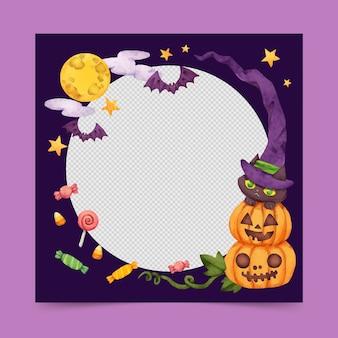 Modèle de cadre de médias sociaux aquarelle halloween