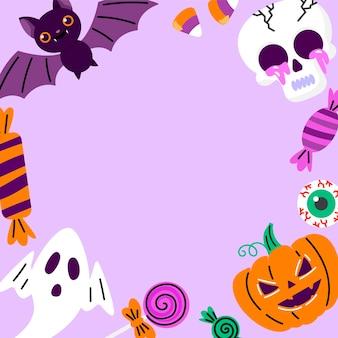 Modèle de cadre de médias sociaux halloween plat dessiné à la main