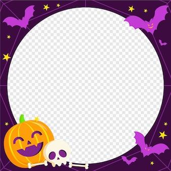 Modèle de cadre de médias sociaux halloween plat