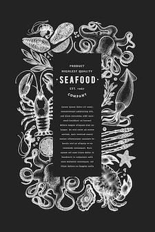 Modèle de cadre de menu de fruits de mer et poissons