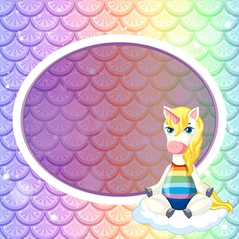 Modèle de cadre ovale sur des écailles de poisson arc-en-ciel pastel avec un personnage de dessin animé mignon de licorne