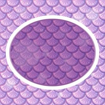 Modèle de cadre ovale sur des écailles de poisson violet