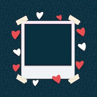 Modèle de cadre photo avec coeur