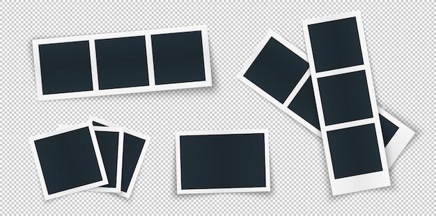 Modèle de cadre photo défini différentes formes et ombre.