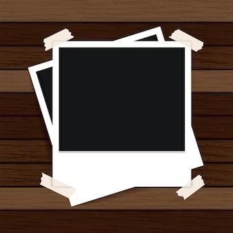 Modèle de cadre photo avec la texture du bois