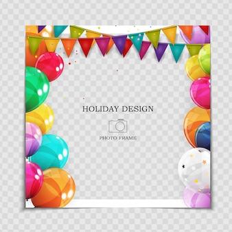Modèle de cadre photo de vacances avec des ballons pour publication sur le réseau social