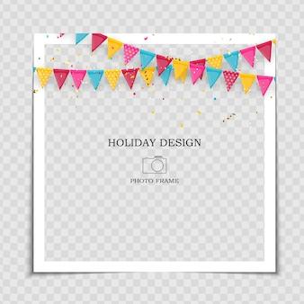 Modèle de cadre photo de vacances avec des drapeaux pour publication sur le réseau social.