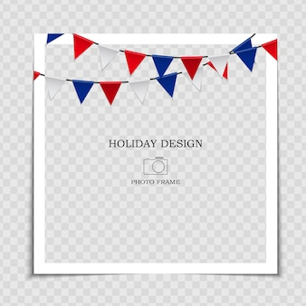 Modèle de cadre photo de vacances avec des drapeaux pour publication sur le réseau social