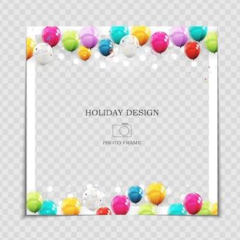 Modèle de cadre photo de vacances de fête avec des ballons pour publication dans le réseau social.