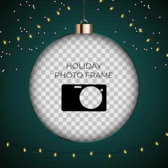 Modèle de cadre photo de vacances. joyeux noël et bonne année.