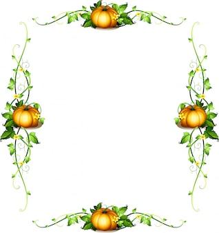 Modèle de cadre avec des plantes de citrouille