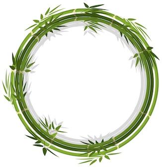 Modèle de cadre rond avec bambou vert