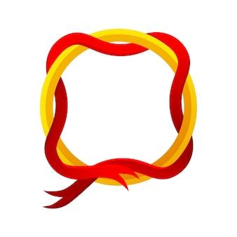 Modèle de cadre rond de jeu d'or avec ruban rouge