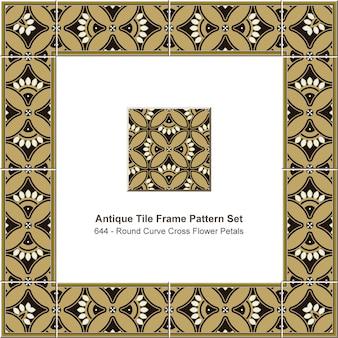 Modèle de cadre de tuile antique serti de pétales de fleurs de croix courbe ronde, décoration en céramique.