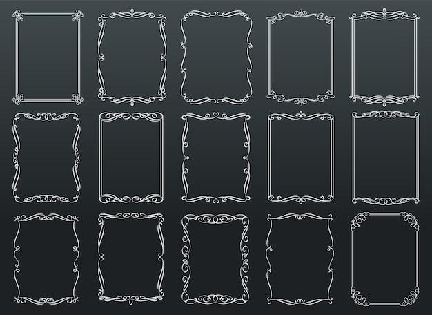 Modèle de cadres rétro rectangulaires ornementales vintage sur tableau noir