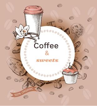 Modèle de café chaud dessiné à la main