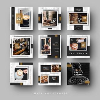 Modèle de café-restaurant de bannière de flux instagram de médias sociaux noir minimaliste