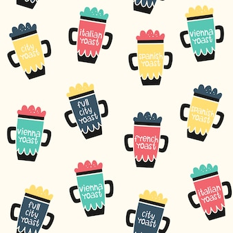 Modèle de café sans soudure de vecteur. objets et degré de torréfaction.