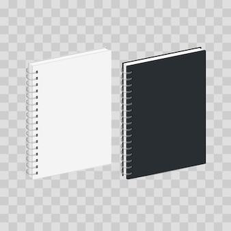 Modèle de cahier de spirale vierge. couvertures noires et blanches