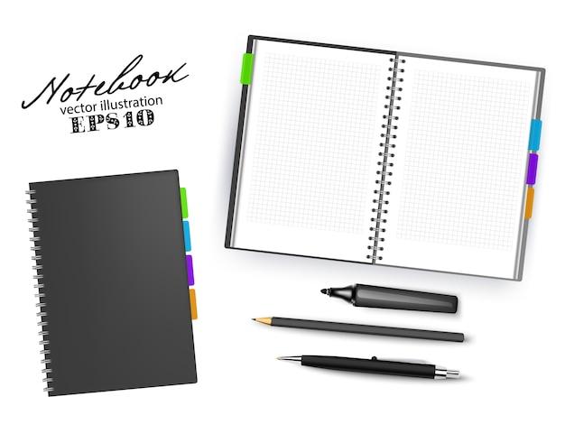 Modèle de cahier vierge noir ouvert et fermé avec stylo, crayon et marqueur permanent. ensemble de papeterie d'illustration isolé sur fond blanc.