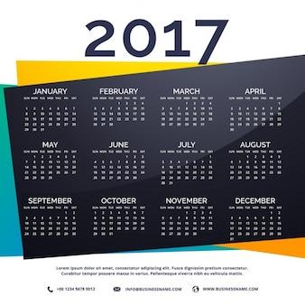 Modèle de calendrier 2017 nouvelle année