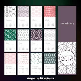Modèle de calendrier 2018 en conception plate