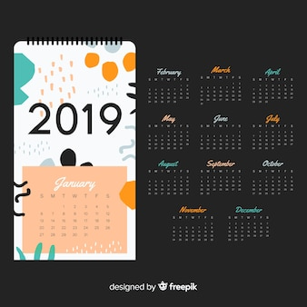 Modèle de calendrier 2019 moderne avec des formes abstraites