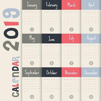 Modèle de calendrier 2019 moderne .vecteur / illustration.