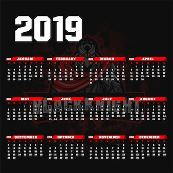 Modèle de calendrier 2019 style de fond esport / sport.