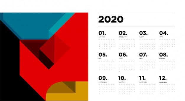 Modèle de calendrier 2020 avec abstrait géométrique coloré