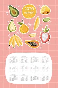 Modèle de calendrier 2020 avec des fruits.