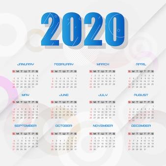Modèle de calendrier 2020