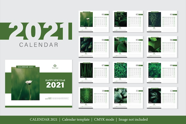 Modèle de calendrier 2021 design moderne